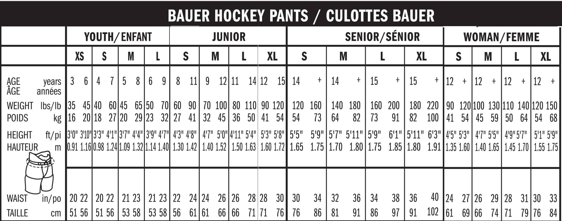 Maattabel  Bauer Hockey pants