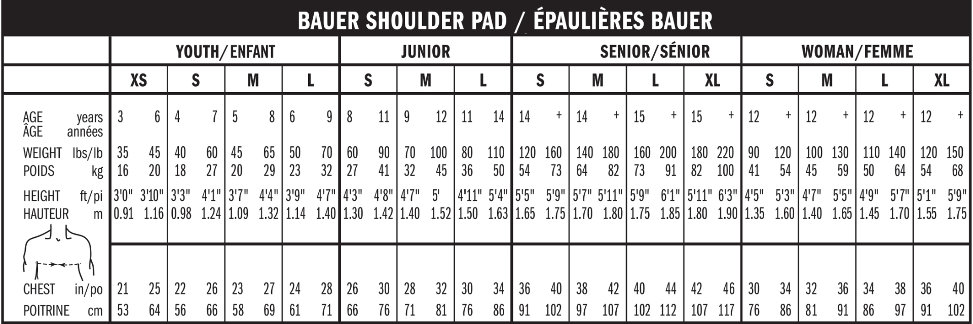 Bauer Shoulderpad maattabel